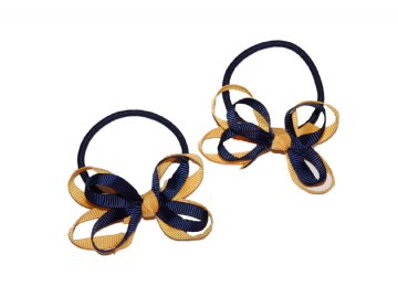 Pony Elastic Bows - Navy/Gold